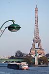 Statue of Liberty on the Île des Cygnes of River Seine with Eiffel Tower La tour eiffel in the background. City of Paris. Paris. France
