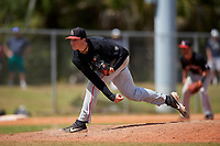 Ball State Cardinals relief pitcher Kyle Nicolas (19) during a game against the Saint Joseph's Hawks on March 9, 2019 at North Charlotte Regional Park in Port Charlotte, Florida.  Ball State defeated Saint Joseph's 7-5.  (Mike Janes/Four Seam Images)
