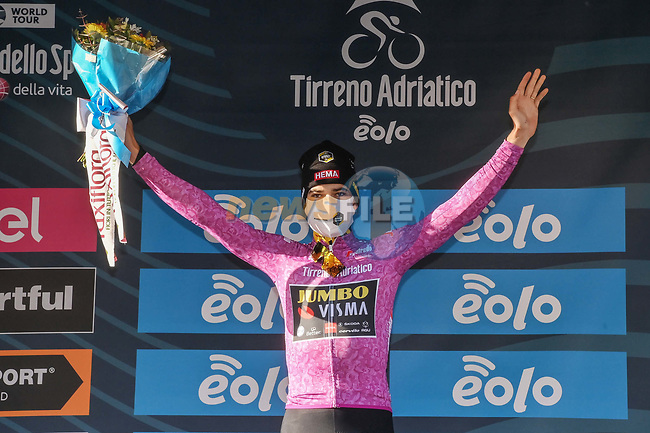 Wout Van Aert (BEL) Team Jumbo-Visma retains the points Maglia Ciclamino at the end of Stage 4 of Tirreno-Adriatico Eolo 2021, running 148km from Terni to Prati di Tivo, Italy. 13th March 2021. <br /> Photo: LaPresse/Gian Mattia D'Alberto | Cyclefile<br /> <br /> All photos usage must carry mandatory copyright credit (© Cyclefile | LaPresse/Gian Mattia D'Alberto)