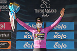 Wout Van Aert (BEL) Team Jumbo-Visma retains the points Maglia Ciclamino at the end of Stage 4 of Tirreno-Adriatico Eolo 2021, running 148km from Terni to Prati di Tivo, Italy. 13th March 2021. <br /> Photo: LaPresse/Gian Mattia D'Alberto   Cyclefile<br /> <br /> All photos usage must carry mandatory copyright credit (© Cyclefile   LaPresse/Gian Mattia D'Alberto)