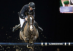 Roger Yves Bost on Record d'Oreal competes during the AirbusTrophy at the Longines Masters of Hong Kong on 20 February 2016 at the Asia World Expo in Hong Kong, China. Photo by Victor Fraile / Power Sport Images