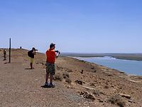 Grenze Turkmenistan am Fluss Amudarja, Usbekistan, Asien<br /> Boarder to Turmenistan at river Amurdaja, Uzbekistan, Asia
