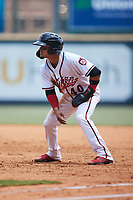 Bryan Torres (40) of the Richmond Flying Squirrels takes his lead off of first base against the Bowie Baysox at The Diamond on July 28, 2021, in Richmond Virginia. (Brian Westerholt/Four Seam Images)