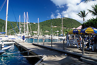 outdoor café, Tortola, West End, British Virgin Islands, Caribbean, BVI, Sopers Hole, Pusser's Landing on the waterfront of Frenchman's Cay on the island of Tortola.