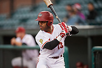Altoona Curve center fielder Elvis Escobar (13) during a game against the New Hampshire Fisher Cats on May 11, 2017 at Peoples Natural Gas Field in Altoona, Pennsylvania.  Altoona defeated New Hampshire 4-3.  (Mike Janes/Four Seam Images)