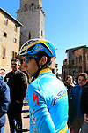 Diego Rosa (ITA) Astana before the start of the 2015 Strade Bianche Eroica Pro cycle race 200km over the white gravel roads from San Gimignano to Siena, Tuscany, Italy. 7th March 2015<br /> Photo: Eoin Clarke www.newsfile.ie
