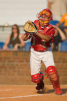 Robert Stock #35 of the Johnson City Cardinals waits for a throw at home plate at Howard Johnson Stadium June 27, 2009 in Johnson City, Tennessee. (Photo by Brian Westerholt / Four Seam Images)