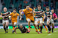 21st May 2021; Twickenham, London, England; European Rugby Challenge Cup Final, Leicester Tigers versus Montpellier; Florian Verhaeghe of Montpellier Rugby is chased by Richard Wigglesworth of Leicester Tigers