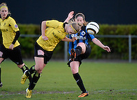 20140502 - VARSENARE , BELGIUM : duel pictured with Brugge's Anne-Lore Scherrens (r) and Lierse's Merel Groenen (l)  during the soccer match between the women teams of Club Brugge Vrouwen  and WD Lierse SK  , on the 26th matchday of the BeNeleague competition on Friday 2 May 2014 in Varsenare .  PHOTO DAVID CATRY