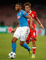 Calcio, Champions League: Napoli vs Benfica. Napoli, stadio San Paolo, 28 settembre 2016.<br /> Napoli's Faouzi Ghoulam, left, is chased by Benfica's Andre Horta during the Champions League Group B soccer match between Napoli and Benfica at Naple's San Paolo stadium, 28 September 2016. Napoli won 4-2.<br /> UPDATE IMAGES PRESS/Isabella Bonotto