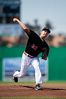 Batavia Muckdogs starting pitcher Chris Vallimont (32) delivers a warmup pitch during a game against the West Virginia Black Bears on July 1, 2018 at Dwyer Stadium in Batavia, New York.  Batavia defeated West Virginia 8-4.  (Mike Janes/Four Seam Images)
