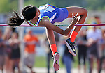 """Bishop Gorman's Vashti Cunningham clears 6'1"""" in the high jump during the NIAA state track and field championships at Carson High, in Carson City, Nev., on Friday, May 23, 2014. (Las Vegas Review-Journal, Cathleen Allison)"""