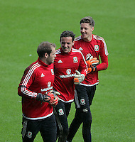 CARDIFF, WALES - SEPTEMBER 05: (L-R) Goalkeepers Owain Fon Williams, Danny Ward and Wayne Hennessey warm up during the Wales training session, ahead of the UEFA Euro 2016 qualifier against Israel, at the Cardiff City Stadium on September 5, 2015 in Cardiff, Wales.