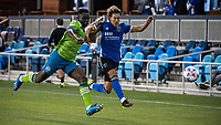 SAN JOSE, CA - MAY 12: Yeimar Gomez Andrade #28 of the Seattle Sounders and Cade Cowell #44 of the San Jose Earthquakes chase the ball during a game between San Jose Earthquakes and Seattle Sounders FC at PayPal Park on May 12, 2021 in San Jose, California.