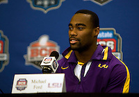 LSU running back Michael Ford talks with the reporters during BCS Championship LSU Offensive Press Conference at Marriott Hotel at the Convention Center in New Orleans, Louisiana on January 7th, 2012.