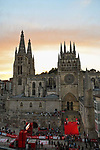 Burgos Cathedral start and finish point for Stage 1 of La Vuelta d'Espana 2021, a 7.1km individual time trial around Burgos, Spain. 14th August 2021.    <br /> Picture: Cxcling | Cyclefile<br /> <br /> All photos usage must carry mandatory copyright credit (© Cyclefile | Cxcling)