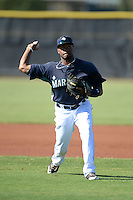 Seattle Mariners infielder Gianfranco Wawoe (10) during practice before an Instructional League game against the Milwaukee Brewers on October 4, 2014 at Peoria Stadium Training Complex in Peoria, Arizona.  (Mike Janes/Four Seam Images)