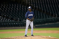 AZL Padres relief pitcher Cristian Machuca (11) prepares to deliver a pitch to the plate against the AZL Cubs on August 28, 2017 at Sloan Park in Mesa, Arizona. AZL Cubs defeated the AZL Padres 2 9-4. (Zachary Lucy/Four Seam Images)