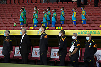 4th June 2021; Beira-Rio Stadium, Porto Alegre, Brazil; Qatar 2022 qualifiers; Brazil versus Ecuador; Players of Brazil stand for the anthems before the match