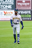 Burlington Bees outfielder Jo Adell (25) warms up in the outfield prior to a Midwest League game against the Wisconsin Timber Rattlers on May 19, 2018 at Fox Cities Stadium in Appleton, Wisconsin. Wisconsin defeated Burlington 1-0. (Brad Krause/Four Seam Images)