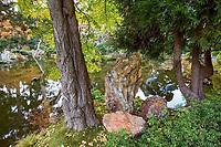 Japanese Tea Garden, Golden Gate Park, San Francisco. Reflective pond.