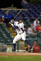 Pitt Panthers third baseman Ron Sherman (18) at bat during a game against the Ohio State Buckeyes on February 20, 2016 at Holman Stadium at Historic Dodgertown in Vero Beach, Florida.  Ohio State defeated Pitt 11-8 in thirteen innings.  (Mike Janes/Four Seam Images)