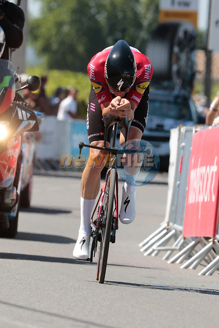 Danish Champion Kasper Asgreen (DEN) Deceuninck-Quick Step during Stage 20 of the 2021 Tour de France, an individual time trial running 30.8km from Libourne to Saint-Emilion, France. 17th July 2021.  <br /> Picture: Colin Flockton | Cyclefile<br /> <br /> All photos usage must carry mandatory copyright credit (© Cyclefile | Colin Flockton)
