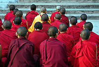 TIBETAN NUNS chant at the NAMGYAL GOMPA or MONASTERY which is a GALUKPA SECT institution of the 14th DALAI LAMA - DHARMSALA, INDIA