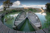 Skiffs at Lake Pamvotida, Ioannina, Epirus, Greece