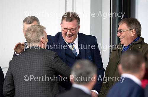 St Mirren v St Johnstone….27.04.19      St Mirren Park        SPFL<br />Roddy Grant greets David Moyes<br />Picture by Graeme Hart. <br />Copyright Perthshire Picture Agency<br />Tel: 01738 623350  Mobile: 07990 594431