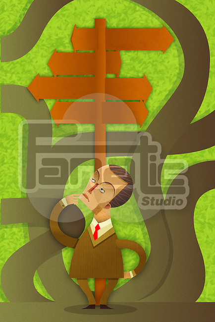 Illustrative image of confused businessman with signboards