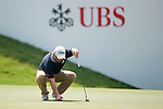 Paul Maddy of England placeos his ball during UBS Hong Kong Open golf tournament at the Fanling golf course on 24 October 2015 in Hong Kong, China. Photo by Xaume Olleros / Power Sport Images