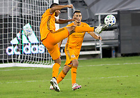 CARSON, CA - OCTOBER 28: Maynor Figueroa #15 of the Houston Dynamo clears a ball during a game between Houston Dynamo and Los Angeles FC at Banc of California Stadium on October 28, 2020 in Carson, California.