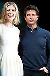 Tom Cruise and Rosamund Pike, Jan 09, 2013 : 2013, January 9th, Tokyo, Japan: Tom Cruise and Rosamund Pike appear at the press conference in The Ritz Carlton Hotel Tokyo on Wednesday 9th January 2013. Tom Cruise is visiting to promote his latest movie Jack Reacher entitled Outlaw for the Japanese market. Cruise flew in on a private jet but this didn't stop many fans and press making it there to greet him. As ever he was all smiles with the Japanese media and remains very popular here. (Photo by Yumeto Yamazaki/Nippon News)