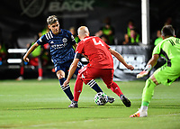 LAKE BUENA VISTA, FL - JULY 26: Jesús Medina of New York City FC is defended by Michael Bradley of Toronto FC during a game between New York City FC and Toronto FC at ESPN Wide World of Sports on July 26, 2020 in Lake Buena Vista, Florida.