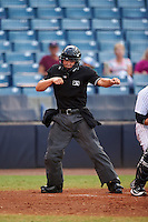 Umpire Jonathan Parra during a game between the Daytona Tortugas and Tampa Yankees on August 5, 2016 at George M. Steinbrenner Field in Tampa, Florida.  Tampa defeated Daytona 7-1.  (Mike Janes/Four Seam Images)