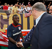 United States midfielder Freddy Adu (19) shakes hands with Senator Bob Menendez prior to the match. The men's national teams of the United States and Argentina played to a 0-0 tie during an international friendly at Giants Stadium in East Rutherford, NJ, on June 8, 2008.