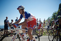 French National Champion Arthur Vichot (FRA/FDJ) cheered up the Lacets du Grand Colombier (Cat1/891m/8.4km/7.6%)<br /> <br /> stage 15: Bourg-en-Bresse to Culoz (160km)<br /> 103rd Tour de France 2016