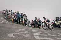 race leader Steve Cummings (GBR/Dimension Data) up the Port de Balès (HC/1755m/11.7km/7.7%)<br /> <br /> 104th Tour de France 2017<br /> Stage 12 - Pau › Peyragudes (214km)