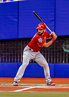 26 March 2018: St. Louis Cardinals infielder Matt Carpenter at bat during an exhibition game against the Toronto Blue Jays at Olympic Stadium in Montreal, Quebec, Canada. The Cardinals defeated the Blue Jays 5-3 in the first of two MLB pre-season games in the former home of the Montreal Expos. Mandatory Credit: Ed Wolfstein Photo *** RAW (NEF) Image File Available ***