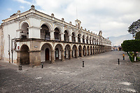 Antigua, Guatemala.  Palace of the Captains General (Palacio de los Capitanes Generales), Facing the Plaza de Armas, Early Morning.