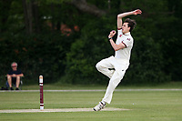 Ash Casey in bowling action for Brentwood during Brentwood CC vs Harold Wood CC, Hamro Foundation Essex League Cricket at The Old County Ground on 12th June 2021