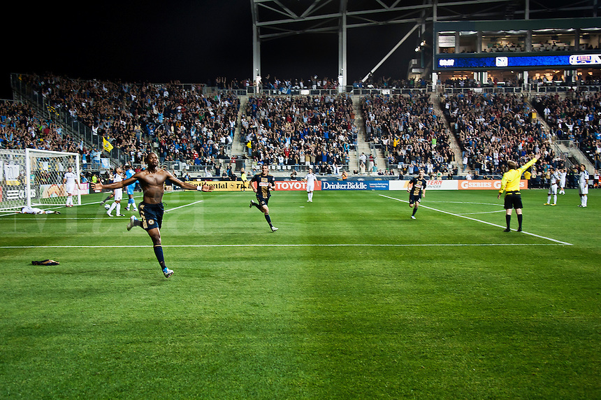 Philadelphia Union striker Danny Mwanga celebrates after scoring against the LA Galaxy at PPL Park, Phila., PA, USA, 2011