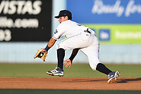 Asheville Tourists shortstop Jose Gomez (4) fields the ball during a game against the Augusta GreenJackets at McCormick Field on July 16, 2017 in Asheville, North Carolina. The Tourists defeated the GreenJackets 12-3. (Tony Farlow/Four Seam Images)