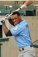 Outfielder Yem Prades (12) of the Wilmington Blue Rocks, Carolina League affiliate of the Kansas City Royals, prior to a game against the Lynchburg Hillcats on June 15, 2011, at City Stadium in Lynchburg, Va. (Tom Priddy/Four Seam Images)