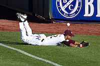 Trey Massenberg (12) of the Missouri State Bears misses a ball in foul territory during a game against the Southern Illinois University- Edwardsville Cougars at Hammons Field on March 9, 2012 in Springfield, Missouri. (David Welker / Four Seam Images)
