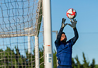 KASHIMA, JAPAN - AUGUST 4: Adrianna Franch #18 of the USWNT makes a save during a training session at the practice field on August 4, 2021 in Kashima, Japan.