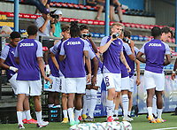 Nils De Wilde (15) of Anderlecht pictured during the water break at the warm up before a friendly soccer game between K Londerzeel SK and RSC Anderlecht Reserves during the preparations for the 2021-2022 season , on Wednesday 21st of July 2021 in Londerzeel , Belgium . PHOTO SEVIL OKTEM   SPORTPIX