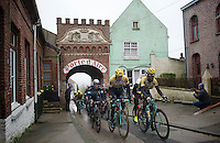 Sep Vanmarcke (BEL/LottoNL-Jumbo) & Bram Tankink (NLD/LottoNL-Jumbo) leading the peloton for a 2nd run back into Cassel<br /> <br /> 77th Gent-Wevelgem 2015