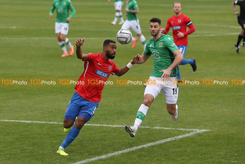 Luke Croll of Dagenham and Redbridge and Joe Quigley of Yeovil during Dagenham & Redbridge vs Yeovil Town, Vanarama National League Football at the Chigwell Construction Stadium on 17th October 2020